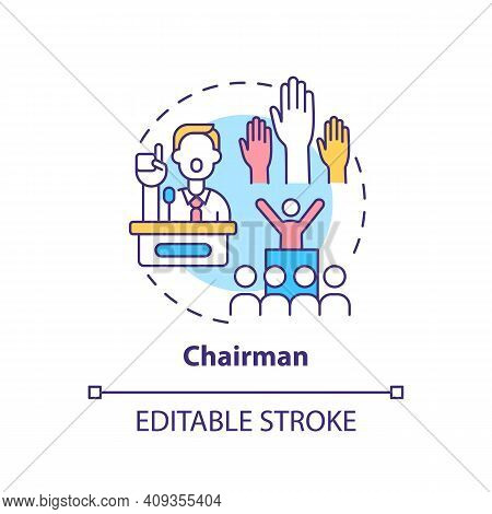 Chairman Concept Icon. Top Management Positions. Ensure That Meetings Run Smoothly. Organization Ide