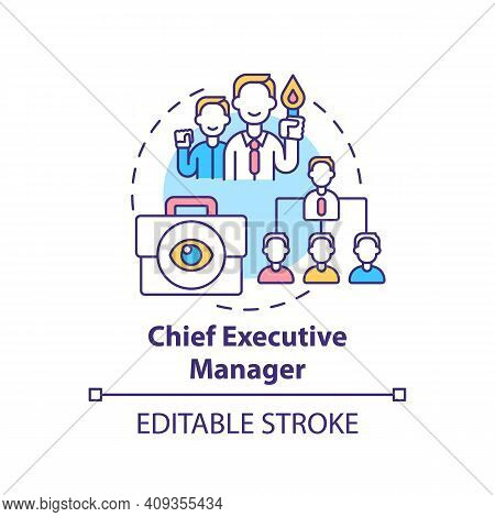 Chief Executive Manager Concept Icon. Top Management Positions. Corporate Executives Managing Organi