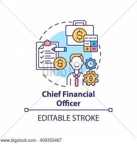 Chief Financial Officer Concept Icon. Top Management Positions. Managing Financial Actions Of Compan