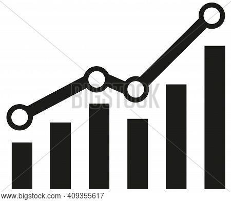 Graph With Increase Report. Diagram With Rise And Gain Progress. Vector