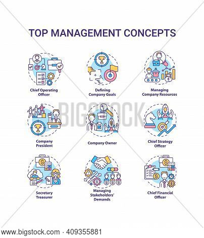 Top Management Concept Icons Set. Managing Stakeholders Demands. Chief Executive Manager. Organizati