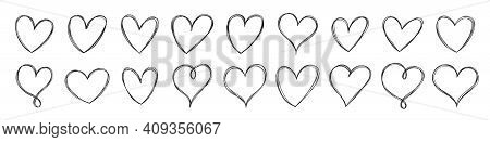 Big Set Of Hand Drawn Hearts. Sketchy Design Elements. Handdrawn Doodle Heart Collection For Your Gr