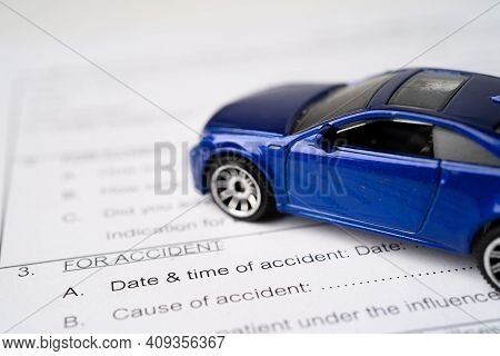 Car On Insurance Claim Accident Car Form Background, Car Loan, Finance, Saving Money, Insurance And