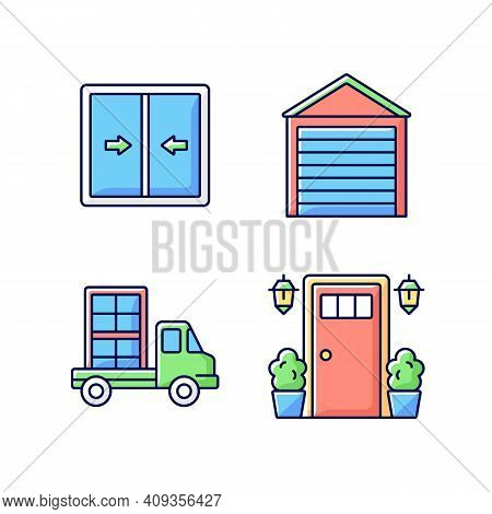 Replacement Window Opportunity Rgb Color Icons Set. Sliding Windows. Garage Doors. Construction Mate