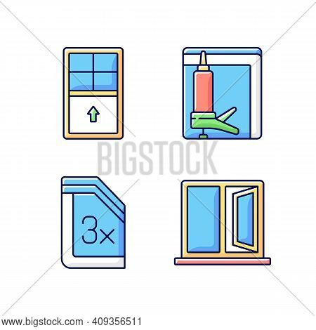 Residential Window And Door Installation Rgb Color Icons Set. Single-hung Windows. Heat, Cooling Los