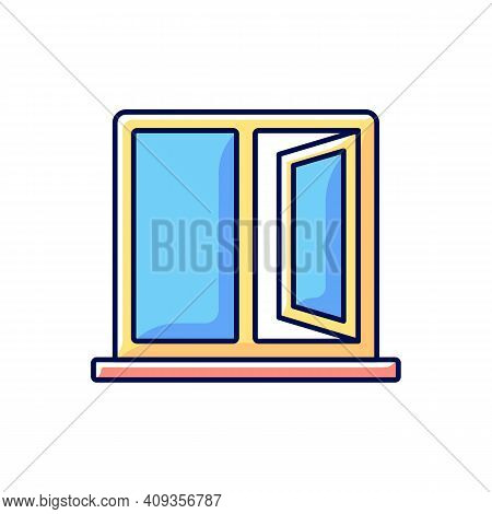 Casement Windows Rgb Color Icon. Movable Window. Preventing Unwanted Airflow Into House. Ventilation