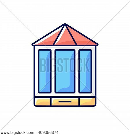 Bay And Bow Windows Rgb Color Icon. Extending Beyond Exterior Wall. Window Space Projecting Outward.