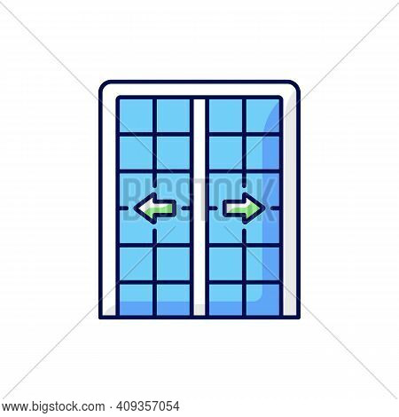 Patio Doors Rgb Color Icon. Sliding Glass Door. Architecture, Construction. Large Glass Window Openi