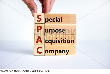 Spac, Special Purpose Acquisition Company Symbol. Businessman Holds Cubes With Words 'spac' On Beaut