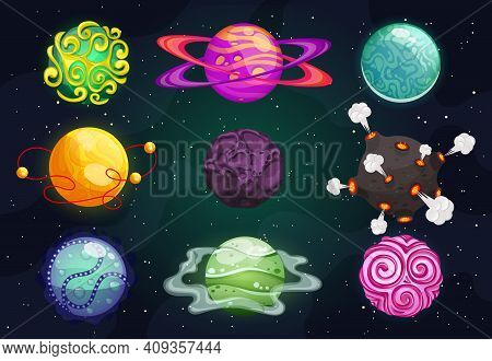 Colorful Cartoon Planets Flat Icon Kit. Cosmic World, Alien Space Design Elements. Earth, Satellite