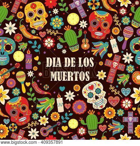 Day Of The Dead, Dia De Los Muertos Pattern. Vector Dia De Los Muertos, Day Of The Dead Or Mexico Ha