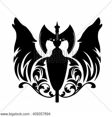Howling Wolf Heads With Heraldic Shield And Scandinavian Battle Axe - Nordic Coat Of Arms Black And