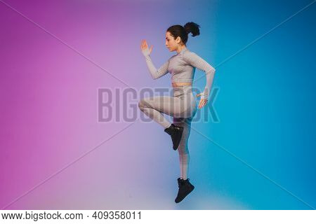 Fashion Portrait Of Young Fit And Sportive Caucasian Woman On Gradient Background. Fit Sportswoman P