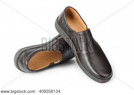 Brown male shoes isolated on white background