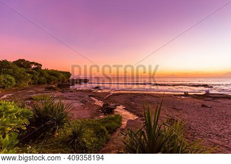 Beach near Tanah Lot Temple in Bali Indonesia - nature background