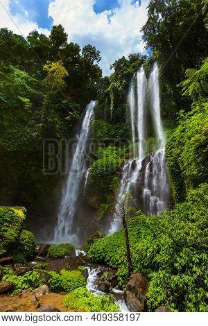 Sekumpul waterfall on Bali island Indonesia - travel and nature background