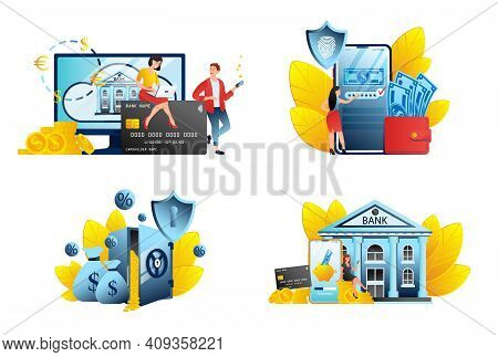 Digital Bank Service Fintech Concept In Flat. Online Banking Application Illustrations With Mobile P