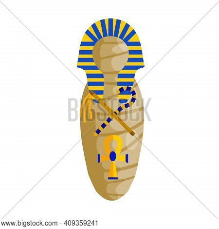 Mummy In Sarcophagus. Body Of Pharaoh. Egyptian King. Archaeology And Halloween Monster. Golden Scep