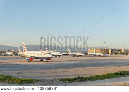 Palma De Mallorca, Spain; February 20 2021: British Airways Planes Parked At Palma De Mallorca Airpo