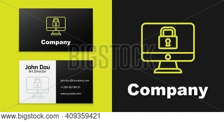 Logotype Line Lock On Computer Monitor Screen Icon Isolated On Black Background. Security, Safety, P