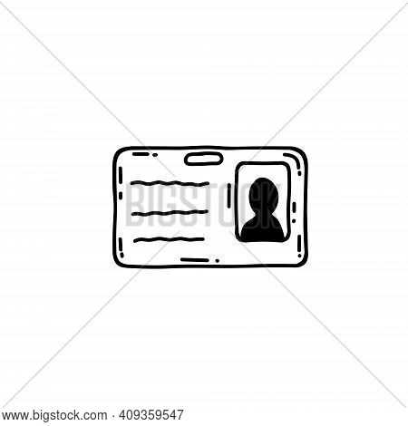 Badge And Id Card. Identity Of The Reporter And The Employee. Doodle Plastic Card With Photo And Inf