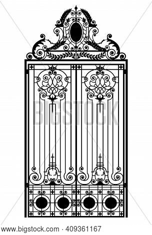 Black Wrought Iron Gate With Ornaments On A White Background