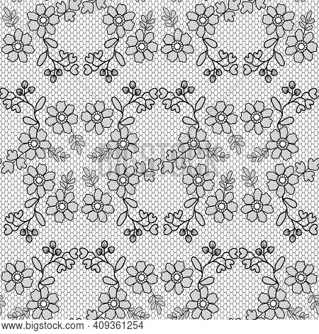 Lace Pattern With Black Flowers On White Background