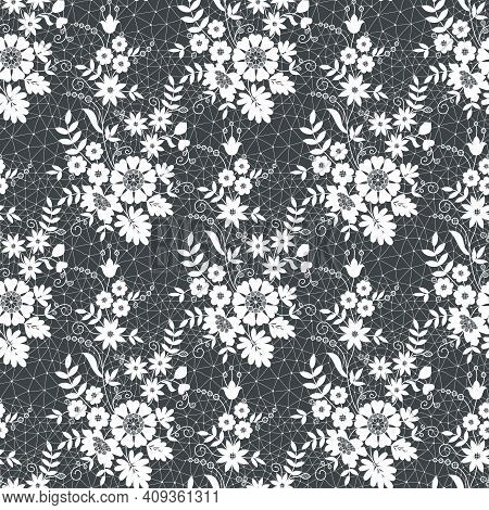 Seamless White Lace With Floral Pattern On Black Background