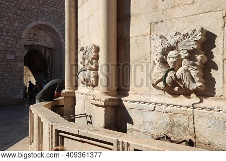 Dubrovnik, Croatia. Medieval Old Town. Intricate Stonework Of Water Fountains.