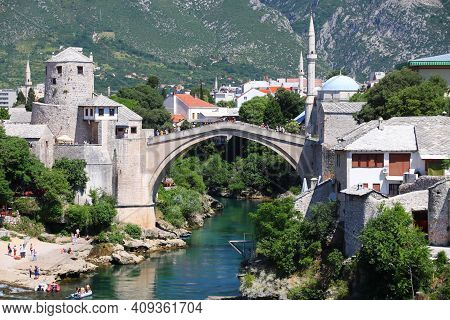 Mostar City In Bosnia And Herzegovina. Old Town View With Stari Most (old Bridge).