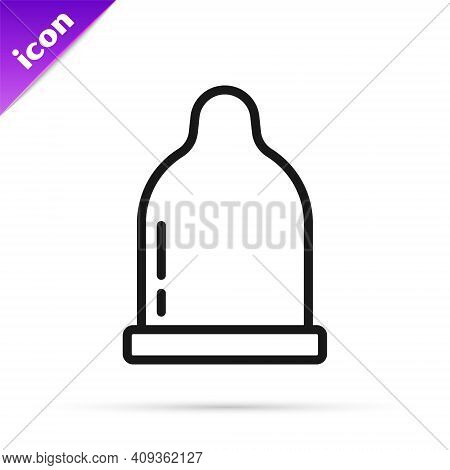 Black Line Condom Icon Isolated On White Background. Safe Love Symbol. Contraceptive Method For Male