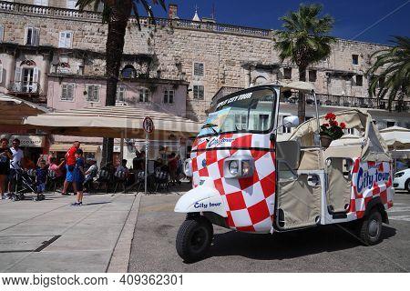 Split, Croatia - July 20, 2019: Bizarre City Tour Trike Motorbike Taxi In Split. Croatia Had 18.4 Mi