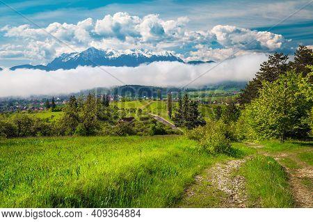 Fantastic Spring Rural Landscape With Foggy Natural Phenomenon, Carpathians, Romania, Europe