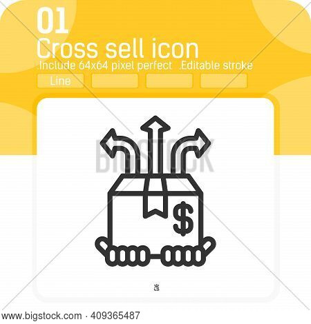 Cross Sell Icon Vector With Outline Style Isolated On White Background. Vector Illustration Sell Sig