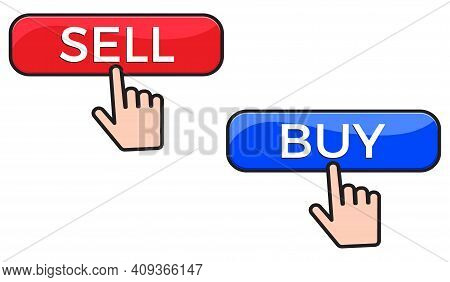 Buy And Sell Button And Finger Click Cursor. Web Button Vector Illustration