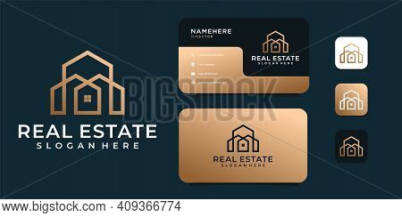 Luxury Architecture Logo Vector With Business Card Template. Logo Can Be Used For Brand, Identity, I