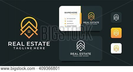 Real Estate Building Logo Design With Business Card Template. Logo Can Be Used For Icon, Brand, Iden
