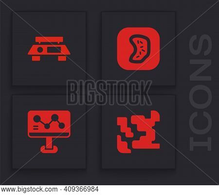 Set Gaseous, Electronic Scales, Bacteria And Chemical Formula Icon. Vector