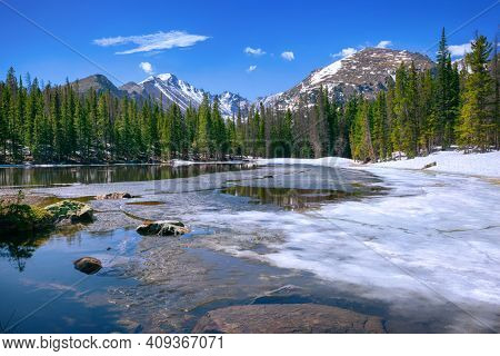 Nymph Lake at the Rocky Mountain National Park, Colorado, USA