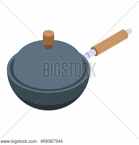 Wok Frying Pan Icon. Isometric Of Wok Frying Pan Vector Icon For Web Design Isolated On White Backgr