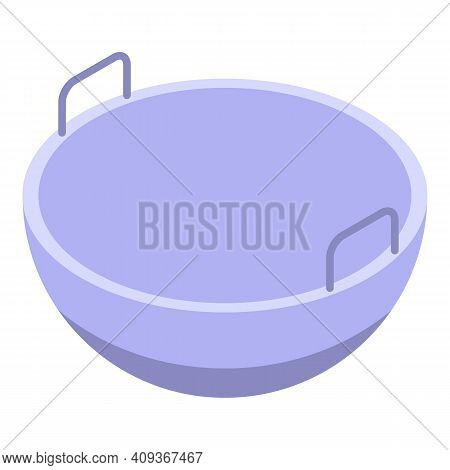 Wok Food Pan Icon. Isometric Of Wok Food Pan Vector Icon For Web Design Isolated On White Background