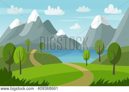Mountain Vector Landscape With Green Hills, Trees, Lake And Road. Nature Summer Illustration. Nature