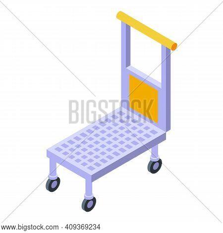 Luggage Cart Icon. Isometric Of Luggage Cart Vector Icon For Web Design Isolated On White Background