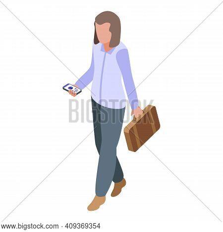Girl Passenger Icon. Isometric Of Girl Passenger Vector Icon For Web Design Isolated On White Backgr