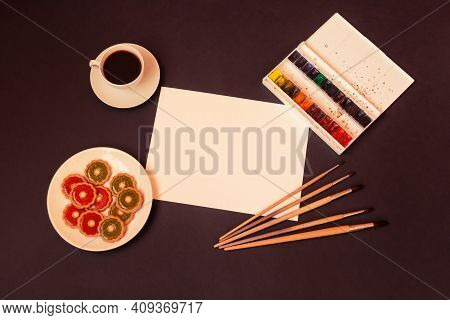 Cup Of Coffee, Sweet Cookies With Strawberry Jelly And Kiwi Jelly,  Watercolor Paints, Brushes For P