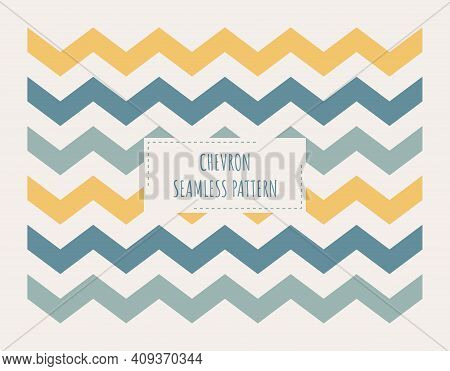 Chevron In Yellow And Blue Seamless Pattern. Zigzag Pattern Print For Fabric Or Paper.