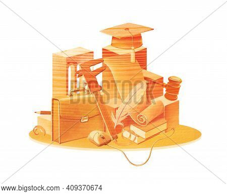 Still Life From Subjects Of Symbols Of Education: Design, Jurisprudence, Technical Sciences. Isolate