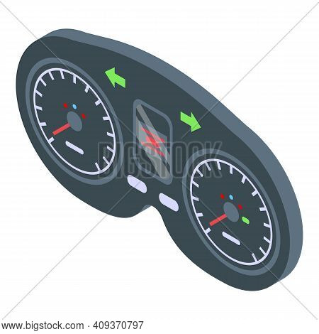 Dashboard Instrument Icon. Isometric Of Dashboard Instrument Vector Icon For Web Design Isolated On