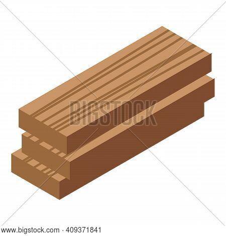 Wood Planks Icon. Isometric Of Wood Planks Vector Icon For Web Design Isolated On White Background