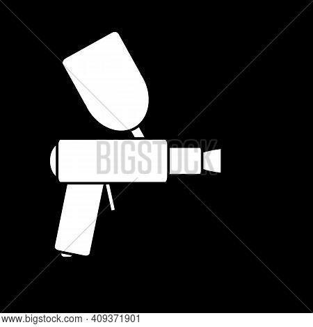 Spray Gun Icon On Black Background. Vector Illustration.